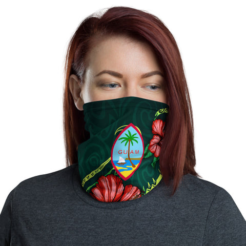 Guam Polynesian Neck Gaiter - Hibiscus With Seal