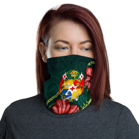 Tonga Polynesian Neck Gaiter - Hibiscus With Seal