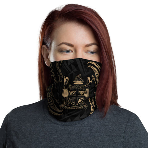 Fiji Melanesia Neck Gaiter - Gold Tribal Wave