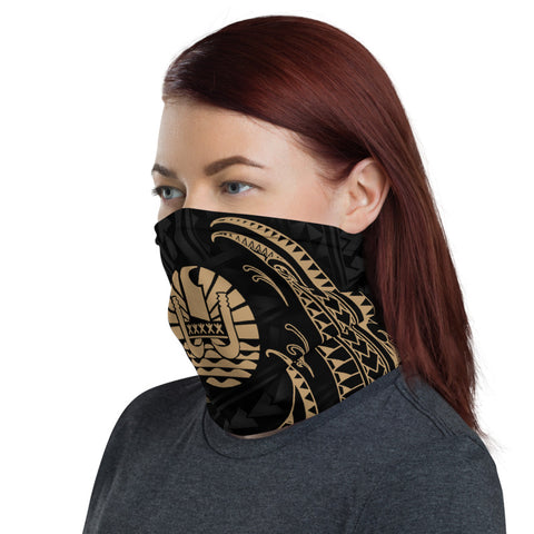 Tahiti Polynesian Neck Gaiter - Gold Tribal Wave - BN12
