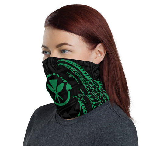 Hawaii Polynesian Neck Gaiter - Green Tribal Wave - BN12