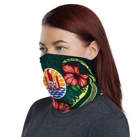 Tahiti Polynesian Neck Gaiter - Hibiscus With Seal - BN12