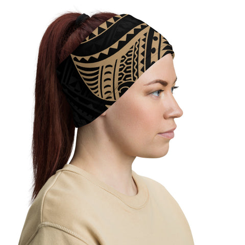 Fiji Melanesia Neck Gaiter - Gold Tribal Wave - BN12