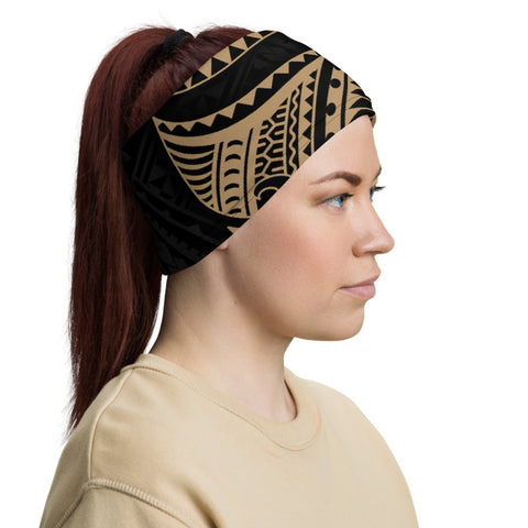 Tonga Polynesian Neck Gaiter - Gold Tribal Wave - BN12