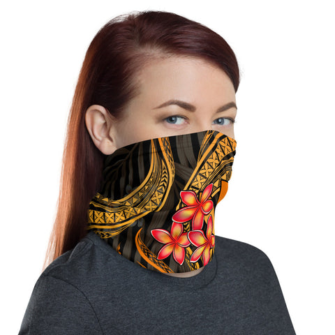 Polynesian Hawaii Neck Gaiter - Gold Plumeria