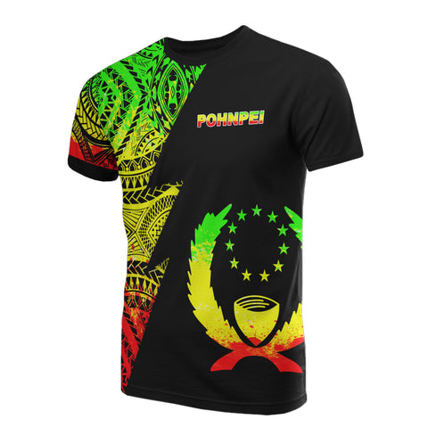 Image of Pohnpei Pattern T-Shirt - Pohnpei Flag Polynesian Tattoo Reggae Style - BN09