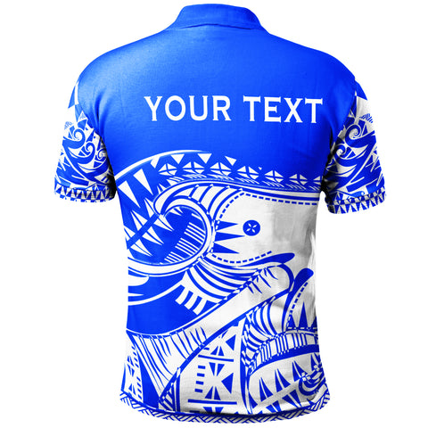 Tonga Custom Personalised Polo Shirt - Youthful Dynamic Style Blue Neon Color - BN20