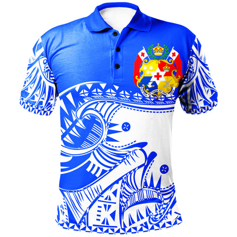 Image of Tonga Custom Personalised Polo Shirt - Youthful Dynamic Style Blue Neon Color - BN20