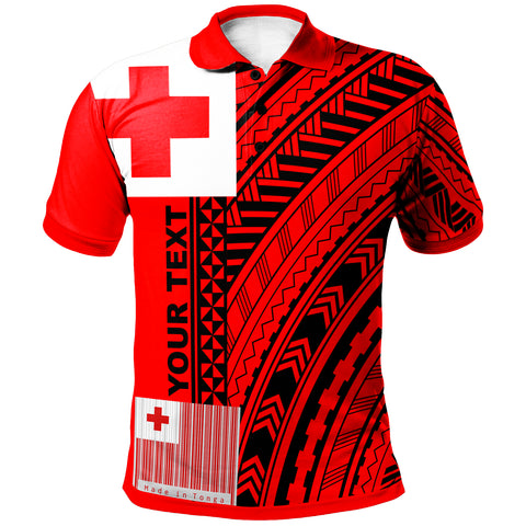 Tonga Custom Personalised Polo Shirt - Unique Barcode Black Red - BN20