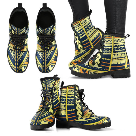 Polynesian Tattoo Leather Boots - BN11