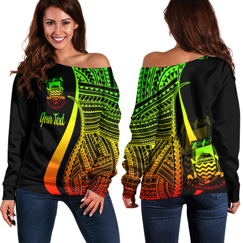 Tuvalu Custom Personalised Women's Off Shoulder Sweater - Reggae Polynesian Tentacle Tribal Pattern