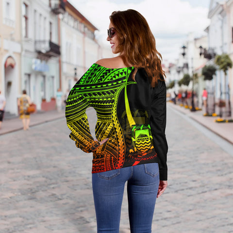 Tuvalu Custom Personalised Women's Off Shoulder Sweater - Reggae Polynesian Tentacle Tribal Pattern - BN11