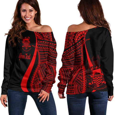 Tuvalu Custom Personalised Women's Off Shoulder Sweater - Red Polynesian Tentacle Tribal Pattern