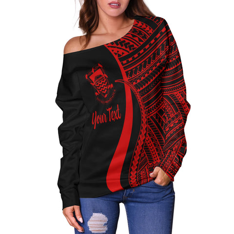 Tuvalu Custom Personalised Women's Off Shoulder Sweater - Red Polynesian Tentacle Tribal Pattern - BN11