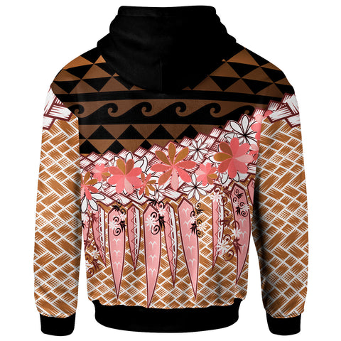 Image of Samoa Zip Hoodie - Coconut Leaves Weave Pattern Brown - BN20