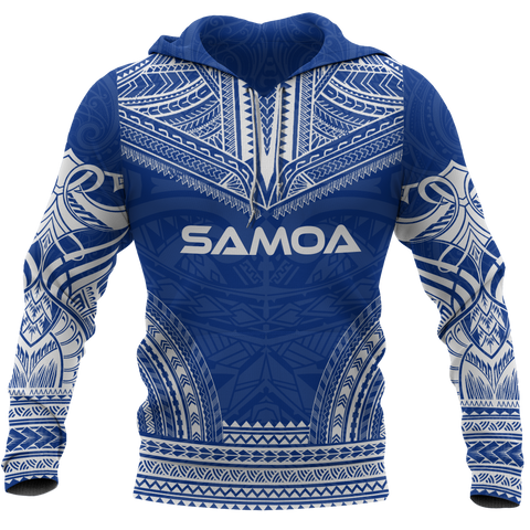 Samoa Polynesian Chief Hoodie - Blue Version BN10