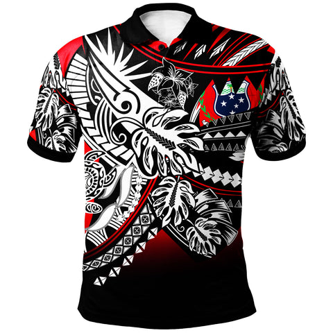 Image of Samoa Polo Shirt - Tribal Jungle Red Pattern - BN20