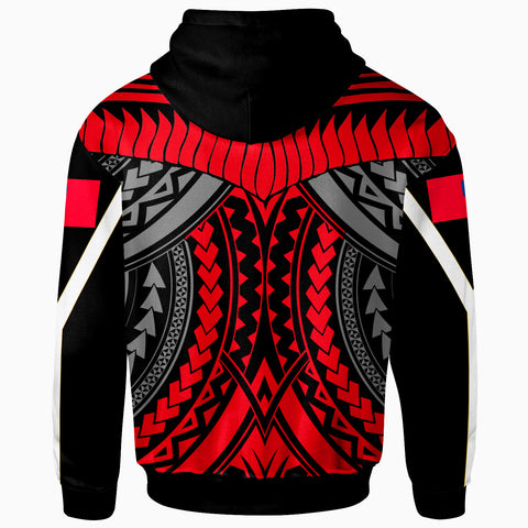 Samoa Zip-Up Hoodie - Tooth Shaped Necklace Red - BN20