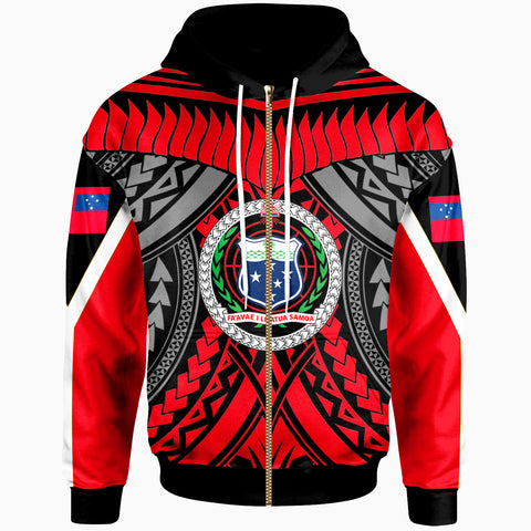 Image of Samoa Zip-Up Hoodie - Tooth Shaped Necklace Red - BN20