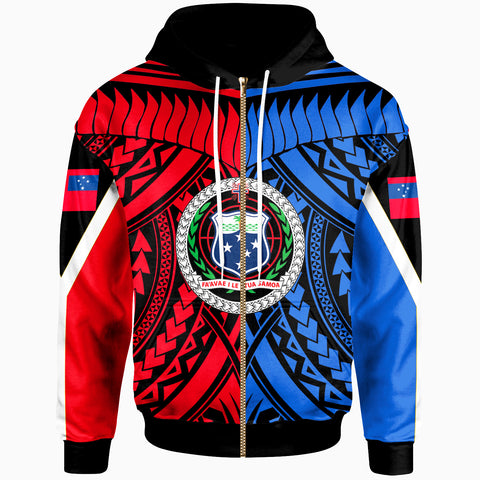 Samoa Zip-Up Hoodie - Tooth Shaped Necklace Red Blue - BN20