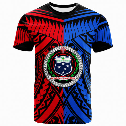 Image of Samoa T-Shirt - Tooth Shaped Necklace Texture Red Blue - BN20