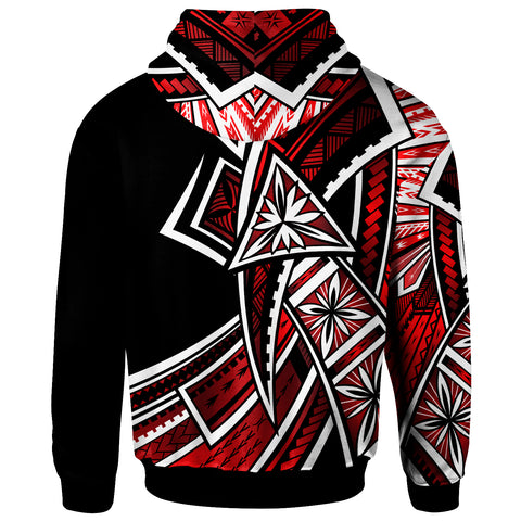 Hawaii Zip-Up Hoodie - Tribal Flower Special Pattern Red Color - BN20