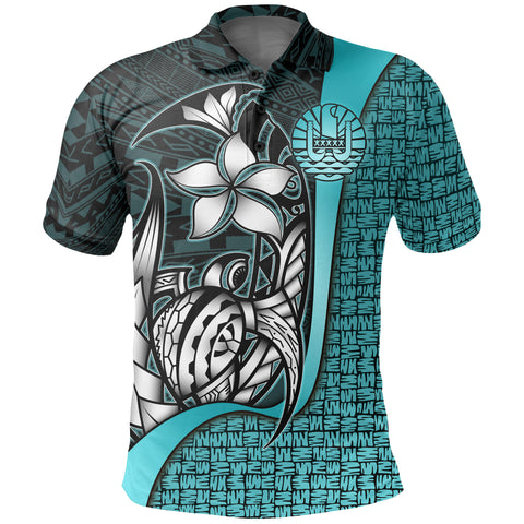 Image of Tahiti Polo Shirt Turquoise - Turtle with Hook