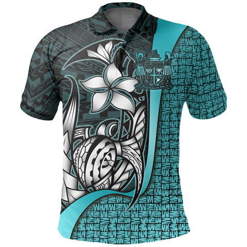 Fiji Polo Shirt Turquoise - Turtle with Hook