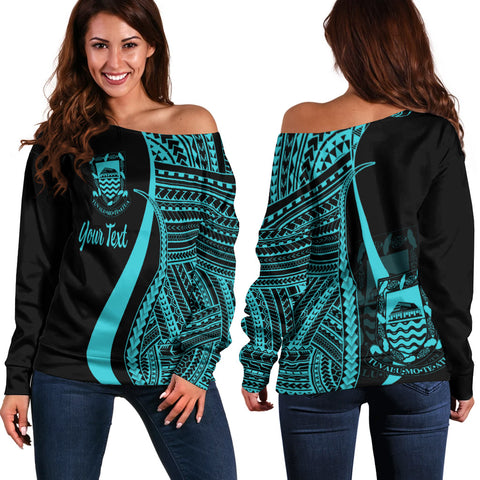 Tuvalu Custom Personalised Women's Off Shoulder Sweater - Turquoise Polynesian Tentacle Tribal Pattern
