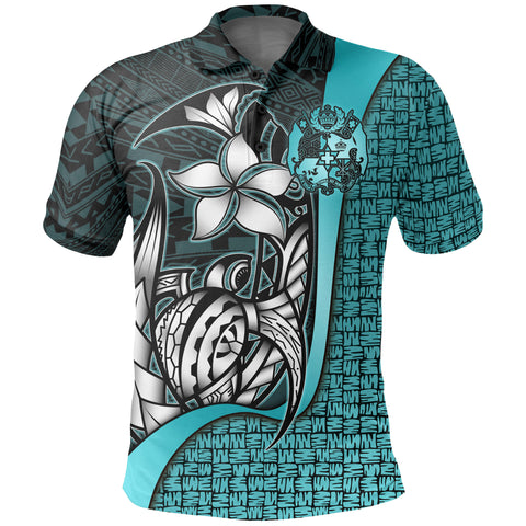 Tonga Polo Shirt Turquoise - Turtle with Hook