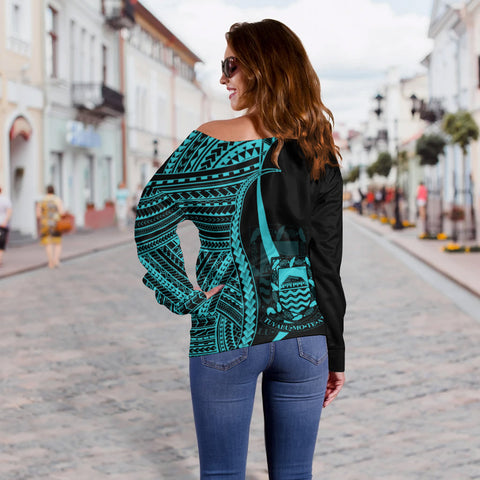 Tuvalu Custom Personalised Women's Off Shoulder Sweater - Turquoise Polynesian Tentacle Tribal Pattern - BN11