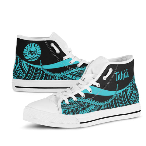 Tahiti High Top Shoes Turquoise - Polynesian Tentacle Tribal Pattern - BN11