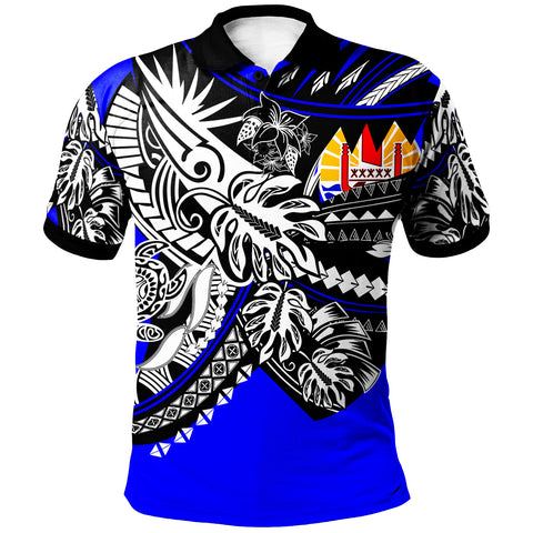 Image of Tahiti Polo Shirt - Tribal Jungle Blue Pattern - BN20