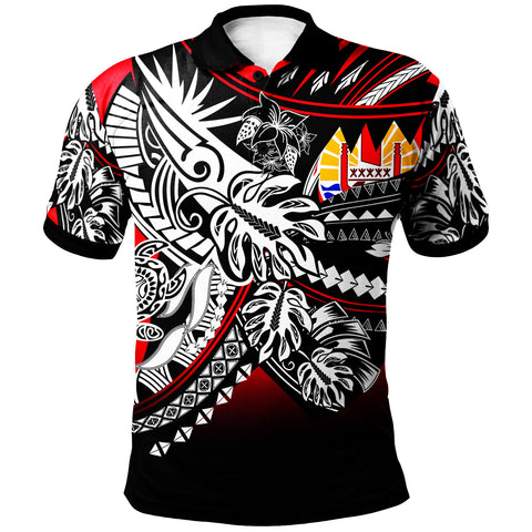 Tahiti Polo Shirt - Tribal Jungle Red Pattern - BN20