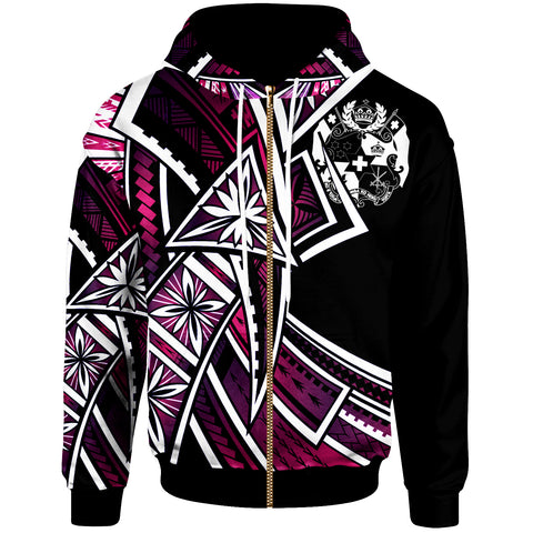 Tonga Zip-Up Hoodie - Tribal Flower Special Pattern Purple Color - BN20