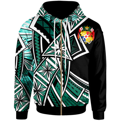 Tonga Zip-Up Hoodie - Tribal Flower Special Pattern Green Color - BN20