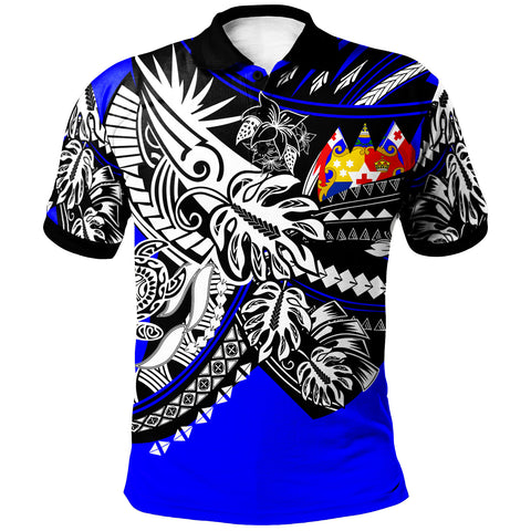 Image of Tonga Polo Shirt - Tribal Jungle Blue Pattern - BN20