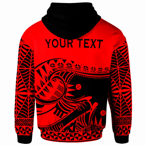 Tonga Custom Personalised Zip-Up Hoodie - Youthful Dynamic Style Red Neon Color - BN20