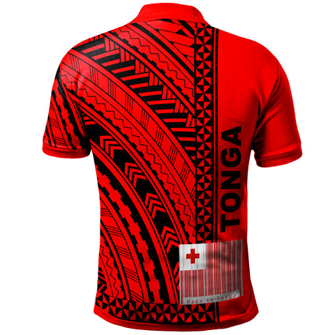 Image of Tonga Custom Personalised Polo Shirt - Unique Barcode Black Red - BN20