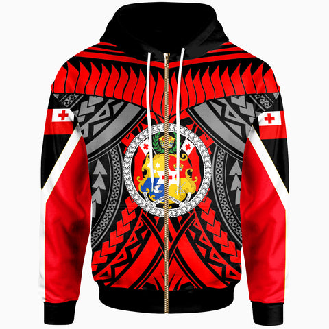 Tonga Zip-Up Hoodie - Tooth Shaped Necklace Red - BN20