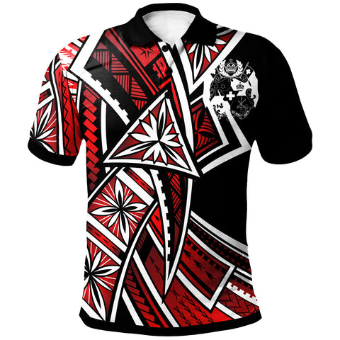 Tonga Polo Shirt - Tribal Flower Special Pattern Red Color - BN20