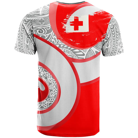 Image of Tonga Polynesian T-Shirt - Spirit Style Gray Red Color - BN20