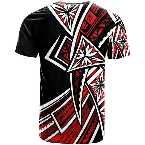 Tonga  T-Shirt - Tribal Flower Special Pattern Red Color- BN20