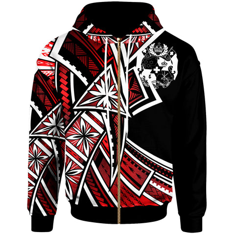 Tonga Zip-Up Hoodie - Tribal Flower Special Pattern Red Color - BN20