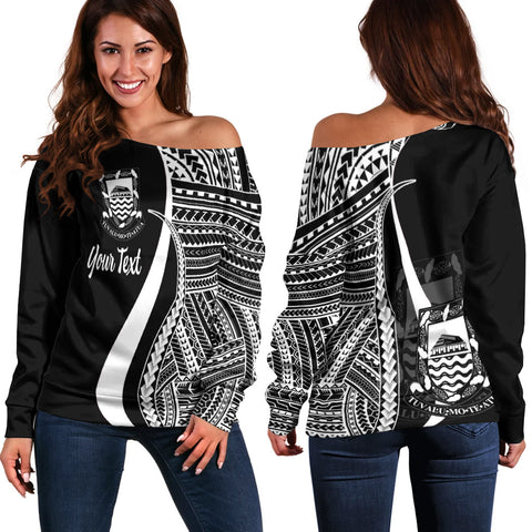 Tuvalu Custom Personalised Women's Off Shoulder Sweater - White Polynesian Tentacle Tribal Pattern