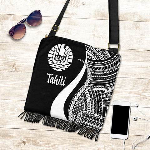 Tahiti Boho Handbag - White Polynesian Tentacle Tribal Pattern