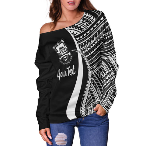 Tuvalu Custom Personalised Women's Off Shoulder Sweater - White Polynesian Tentacle Tribal Pattern - BN11