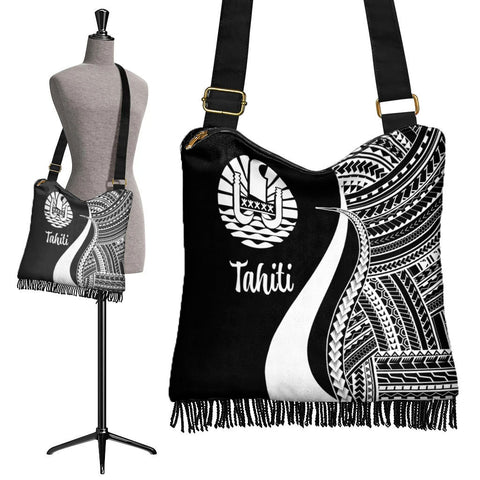 Image of Tahiti Boho Handbag - White Polynesian Tentacle Tribal Pattern - BN11