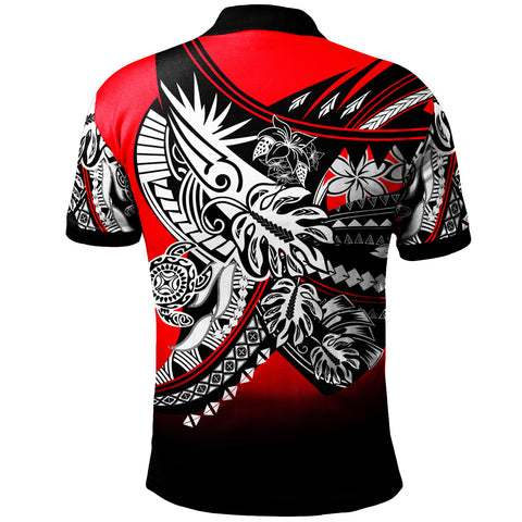 Image of Guam Polo Shirt - Tribal Jungle Red Pattern - BN20