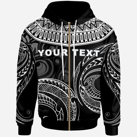 Tonga - Custom Personalised Zip Hoodie - Serrated Pattern White Color - BN20